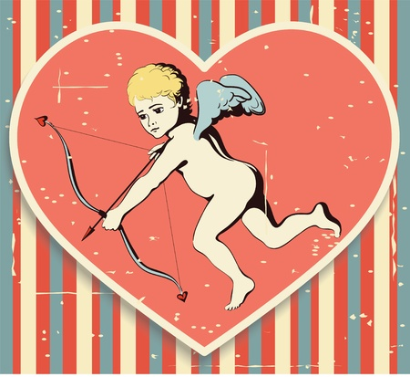 Flying Cupid with bow and arrow on a retro background with texture