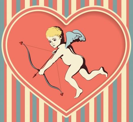 Flying Cupid with bow and arrow on a retro background with stripes  Illustration