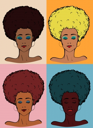 Vector illustration of a young afro-american lady in different colours  Vectores