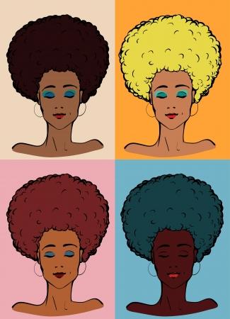 dark hair: Ilustraci�n vectorial de un joven afro-americano dama en diferentes colores Vectores