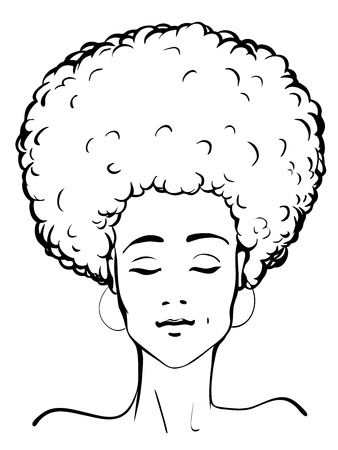 african cartoon: Vector illustration of a young afro-american lady