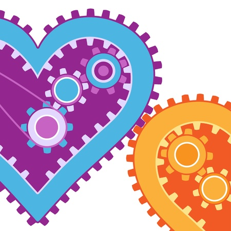 Two hearts working together - concept of love and cooperation