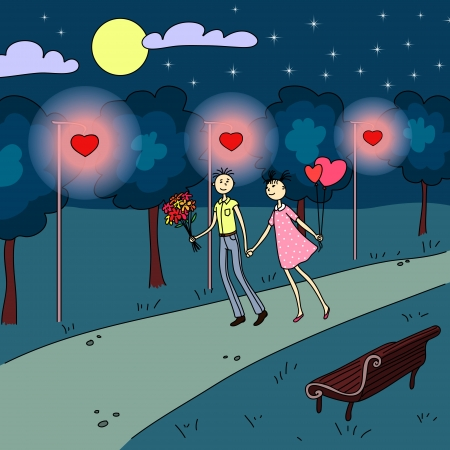 couple date: Boy and girl walking on the alley in the park under the moonhine and heart shaped lanterns