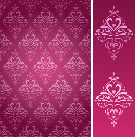 Seamless damask wallpaper pattern with  abstract swans in two colors  Vector