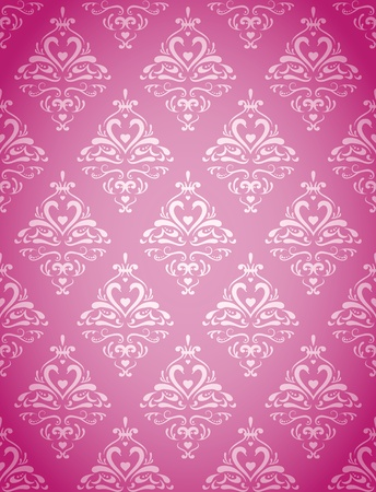 Seamless wallpaper pattern with hearts and abstract swans  Vector