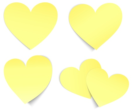 Vector yellow heart shaped sticky papers  Stock Vector - 17426125