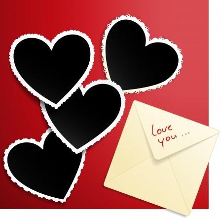 polaroid: Vecteur d'image avec des mod�les d'enveloppe et le coeur en forme de photo d�cor� de lacets