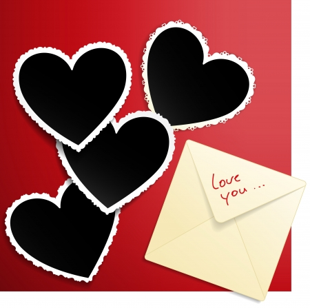 wedding photo album: Vector image with envelope and heart shaped photo templates decorated with laces