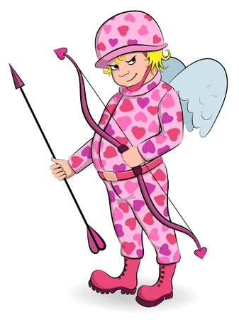 Funny cupid in pink camouflage with bow and arrow Vector