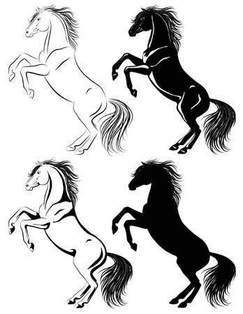 Set of rearing horse illustrations in different techniques