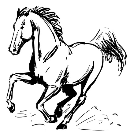 Galloping horse sketch with blob brush Illustration
