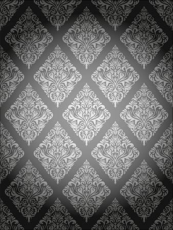 Seamless damask wallpaper pattern on a gray background