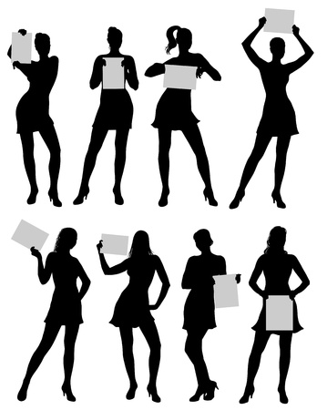 Isolated silhouettes of a woman with paper in different poses Stock Vector - 18384046
