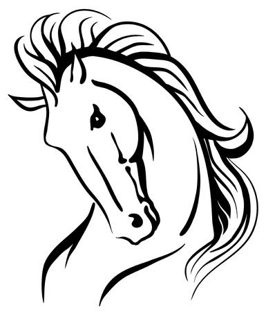 merrie: Gestileerde tekening van een wild paard Stock Illustratie