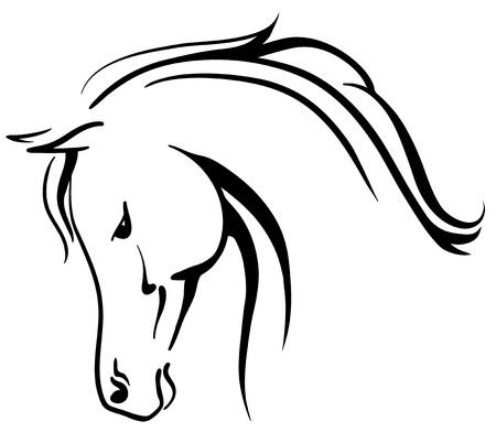 paardenhoofd: Clip art Arabisch paard gestileerde kop Stock Illustratie