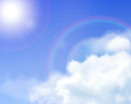 Blue sky background with realistic mesh clouds and sun flare