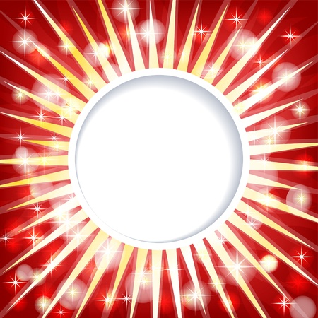 Paper imitating red background template with shiny rays and sparkles