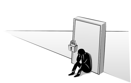 humility: Depressed man sitting at the closed door
