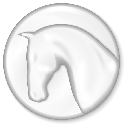 Silver medal with horse head silhouette on it Vector