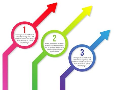 Vector kleurrijke diagonale pijltjes met cirkels en drie stappen