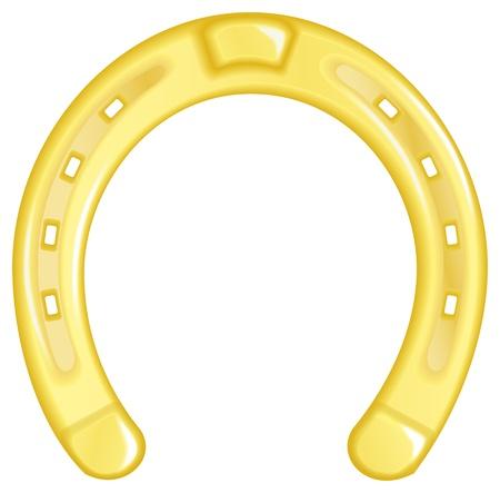 Vector illustration of a golden horseshoe isolated on white