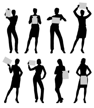 Isolated silhouettes of a business woman holding paper