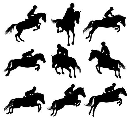 uomo a cavallo: Set di un cavallo che salta con sulhouettes rider Vettoriali