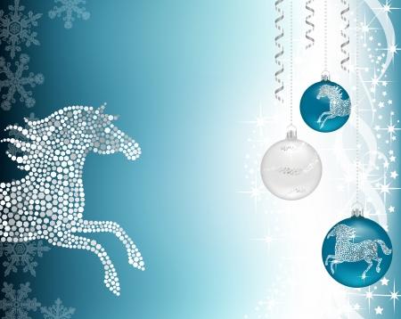 Christmas background with baublea and silver horse Ilustração