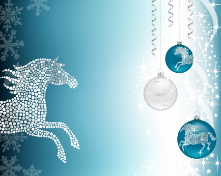 Christmas background with baublea and silver horse Vectores