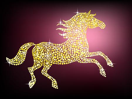 Shiny golden horse on a dark purple background Illustration