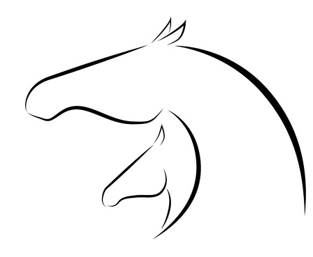 Stylized vector illustration of mare and foal