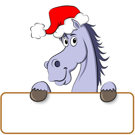 Funny blue cartoon horse white empty board for signs