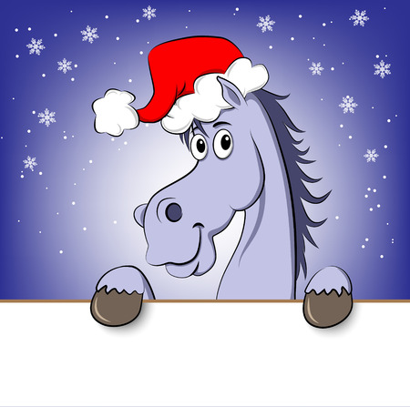 Funny blue cartoon horse in Santa Claus hat  Ilustração