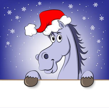 Funny blue cartoon horse in Santa Claus hat  Illustration