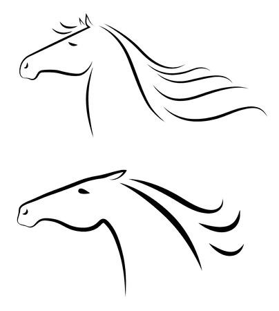Vector illustration of two stylized horses heads  Illustration
