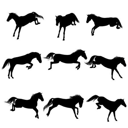 show jumping: Set of a jumping horse silhouettes Illustration