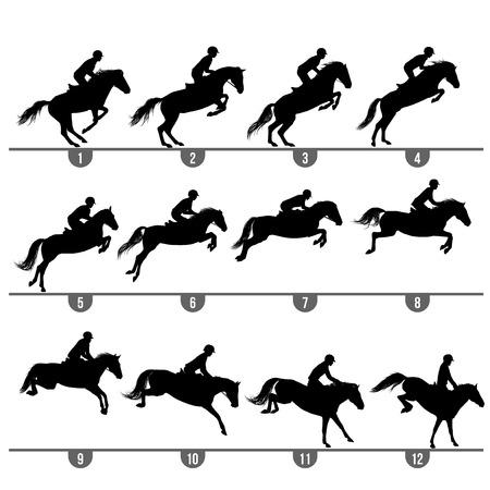springpaard: Set van 12 springpaard fasen silhouetten Stock Illustratie