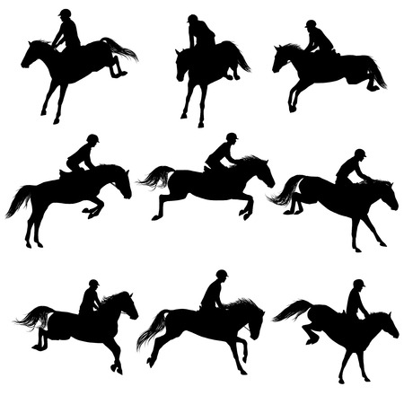 galloping: Set of a jumping horse with rider silhouettes
