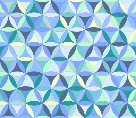 Flower of life seamless pattern in blue colours Vectores