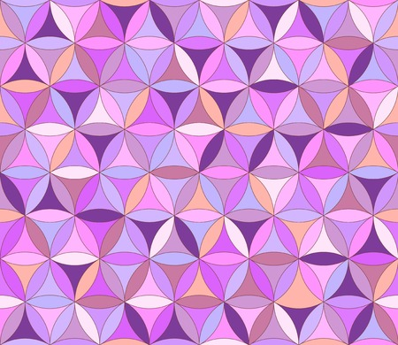 Flower of life seamless pattern in pink and purple colours Vectores