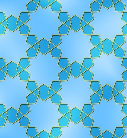 puntig: Blauwe gouden naadloze patroon gemaakt van tien puntige sterren Stock Illustratie