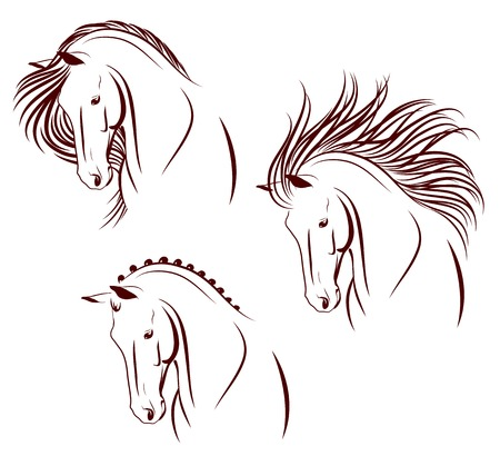 outlines: Set of 3 differently stylized horse heads