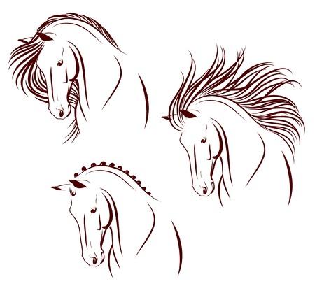 paardenhoofd: Set van 3 verschillend gestileerde paard hoofd Stock Illustratie