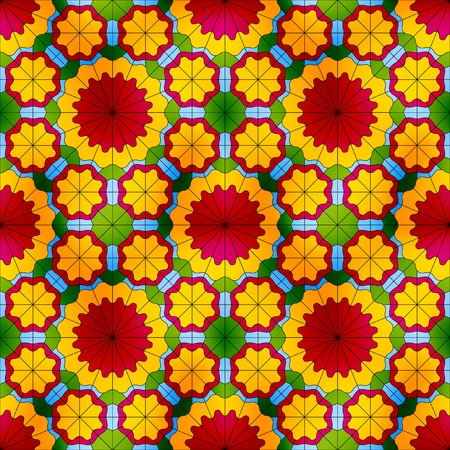 Stained glass seamless pattern with big red flowers and small yellow flowers