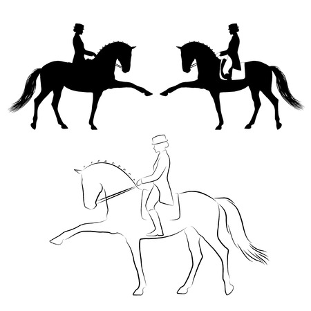 Dressage  horse with rider performing spanish walk Vector