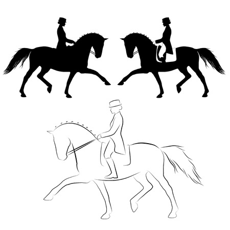Set of three varations off dressage  horse with rider performing extended trot Vector