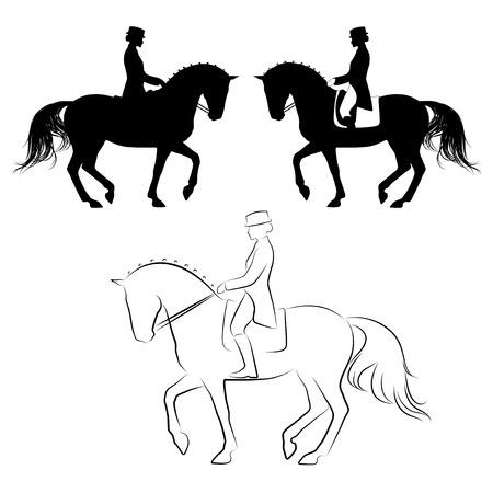 jinete: Conjunto de 3 siluetas de caballo de doma con jinete piaffe realizar Vectores
