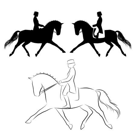 jinete: Conjunto de tres variaciones de caballo de doma con un jinete que realizan trote extendido Vectores