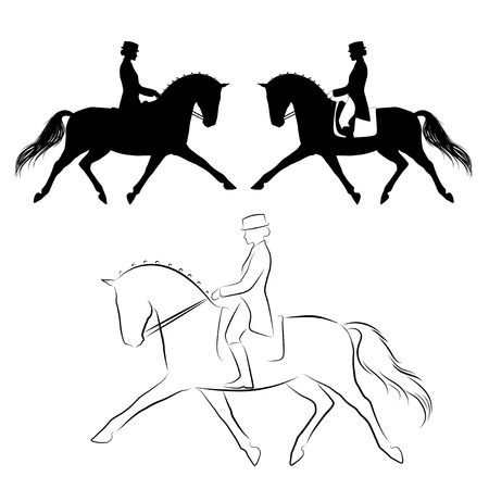 Set of three variations of dressage  horse with rider performing extended trot Çizim