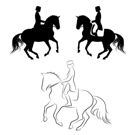 Set of 3 silhouettes of dressage horse with rider performing pirouette Stock Illustratie